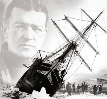 shackleton's face superimposed over a picture of the endurance stuck in the ice